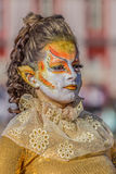 Living statue of a woman multicolor dressed Royalty Free Stock Image