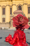 Living statue of a woman multicolor dressed Royalty Free Stock Photo
