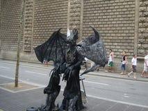 Living statues of La Rambla in BarcelonaYuSpain royalty free stock photography
