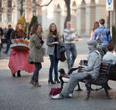 Living statues and people Royalty Free Stock Photography