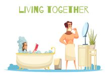 Living Together Concept vector illustration