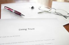 Living Trust document. A Living Trust legal document on a desk Royalty Free Stock Image
