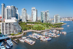 Living in Vancouver. Looking down from the Granville Bridge, this is an east view of False Creek, a short inlet in the heart of Vancouver, British Columbia Royalty Free Stock Photo