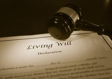 Living Will and court gavel. Living Will document and legal gavel Stock Images