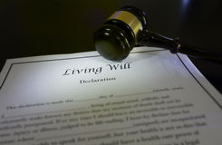 Living Will and gavel Stock Photography
