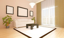Livingroom 3d. Luminous livingroom with modern style furniture Stock Images