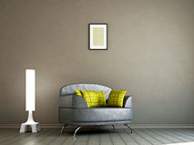 Livingroom with armchair and a lamp Stock Photos