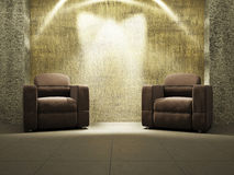 Livingroom with armchairs. Near the old wall Royalty Free Stock Images