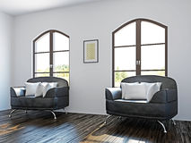 Livingroom with black chairs Royalty Free Stock Photography