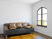 Livingroom with black sofa Stock Images