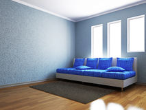 Livingroom with blue sofa Stock Images