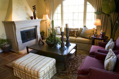 Livingroom with fireplace Royalty Free Stock Photography
