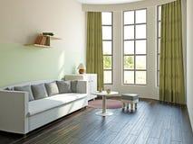 Livingroom with furniture. Near the big window Royalty Free Stock Photos