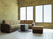 Livingroom with furniture. Near the window Stock Photography