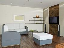 Livingroom with furniture and a TV. Livingroom with big sofa and a TV Stock Photos