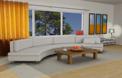 Livingroom interior. In luxurious newly built home Royalty Free Stock Image