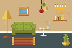 Livingroom Interior Flat Design Vector Illustration Stock Images
