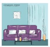 Livingroom interior place with couch.Hand drawn color sketch Royalty Free Stock Photos