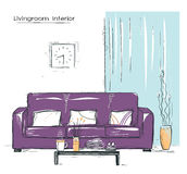 Livingroom interior place with couch.Hand drawn color sketch Royalty Free Stock Images