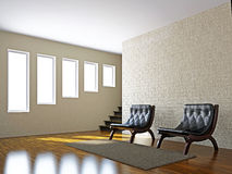 Livingroom with leather chairs Stock Images