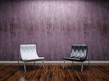 Livingroom with leather chairs Royalty Free Stock Photos