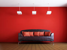 Livingroom with leather sofa. Near the wall Stock Image
