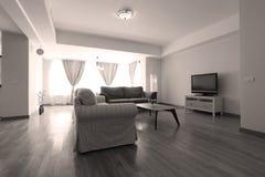 Livingroom med nytt möblemang Arkivbilder