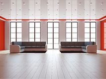 Livingroom med sofas stock illustrationer