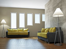Livingroom med sofas royaltyfri illustrationer