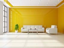 Livingroom med sofas och en bordlägga stock illustrationer