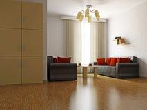 Livingroom med sofas och en tabell vektor illustrationer