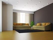 Livingroom med sofas och en växt stock illustrationer