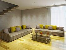 Livingroom med två soffor Royaltyfri Bild