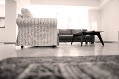 Livingroom with new furniture. Big living room with modern couches stock photography