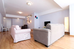 Livingroom with new furniture. Big living room with modern couches stock photos