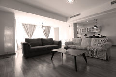 Livingroom with new furniture. Big living room with modern couches royalty free stock image
