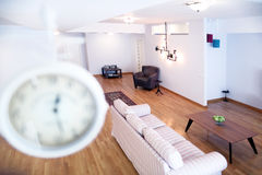 Livingroom with new furniture. Big living room with modern couches royalty free stock photo