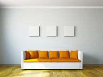 Livingroom with orange sofa Stock Images