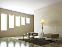 Livingroom with pouf and a lamp. Livingroom with pouf  and a lamp near the wall Royalty Free Stock Photos