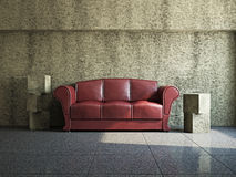 Livingroom with sofa. Near the old wall Stock Photography