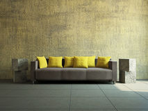 Livingroom with sofa. Near the old wall Royalty Free Stock Images