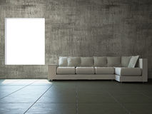 Livingroom with sofa. Near the old wall Royalty Free Stock Photo