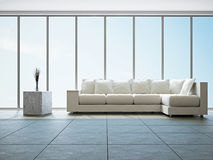 Livingroom with sofa. Near the big window Stock Photo