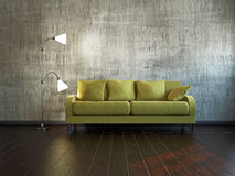 Livingroom with sofa. Near the wall Royalty Free Stock Photo