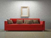 Livingroom with sofa. Near the grey wall Stock Photo