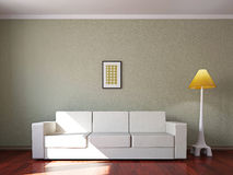 Livingroom with sofa and a lamp Royalty Free Stock Photos