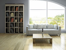 Livingroom with sofa. Near the big window Stock Images