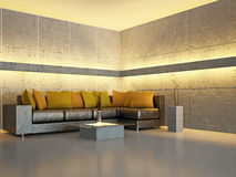 Livingroom with sofa. Near the wall Royalty Free Stock Images