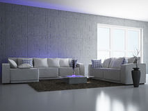 Livingroom with sofa. Near the wall Royalty Free Stock Image