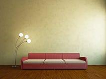 Livingroom with sofa. Near the wall Royalty Free Stock Image